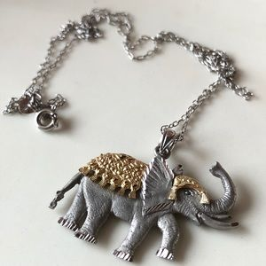 Sterling Silver Italian Elephant Charm Necklace